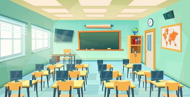 빈 학교 교실 인테리어 보드입니다. 만화 교육 배경입니다. 교육 개념입니다. 칠판, 테이블, 책상, 의자가 있는 대학 또는 대학 교육실. 평면 스타일의 벡터 일러스트 레이 션
