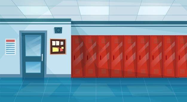 Empty school corridor interior with row of lockers,closed door to classroom. horizontal banner. cartoon college campus hall or university lobby. vector illustration in a flat style
