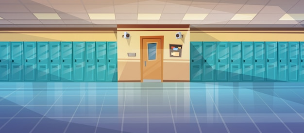Empty school corridor interior with row of lockers