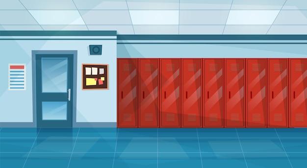 ロッカーの列と空の学校の廊下のインテリア、教室への閉じたドア。水平バナー。漫画の大学のキャンパスホールまたは大学のロビー。フラットスタイルのベクトル図
