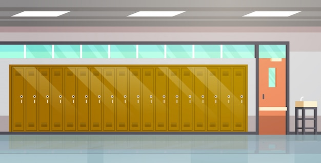 Empty school corridor with row of lockers