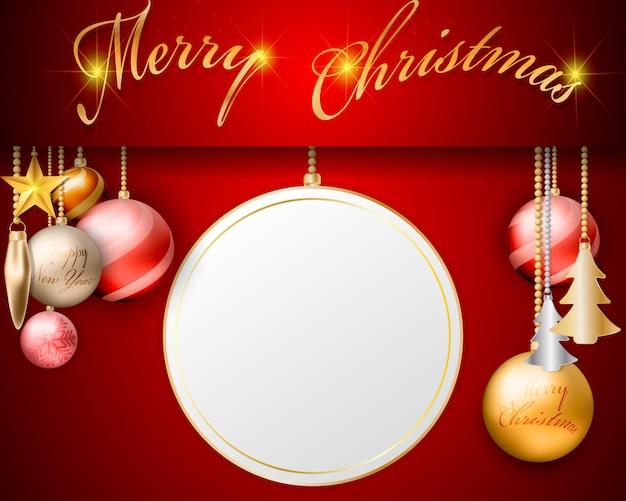 Empty screen hanging christmas balls decorations