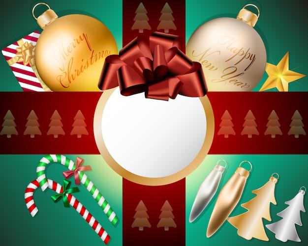 Empty screen top view christmas balls decorations