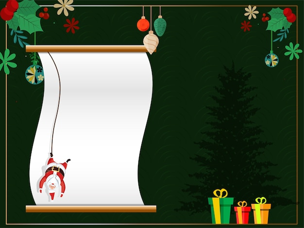 Empty scroll paper with hanging santa claus