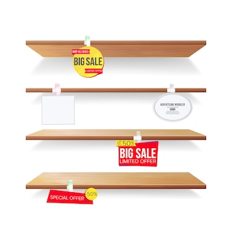 Empty shelves with advertising labels