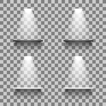 빛과 그림자, 흰색과 검은 색 색상으로 빈 선반. 3d 현실 프리미엄 벡터