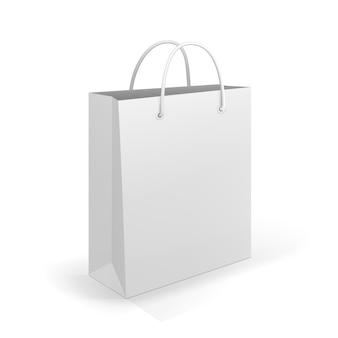 広告とブランディングのための白の空のショッピングバッグ