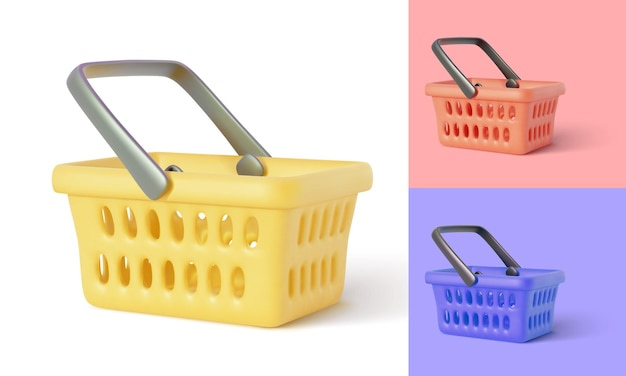 Empty shopping basket. realistic shopping cart isolated on white background.  illustration