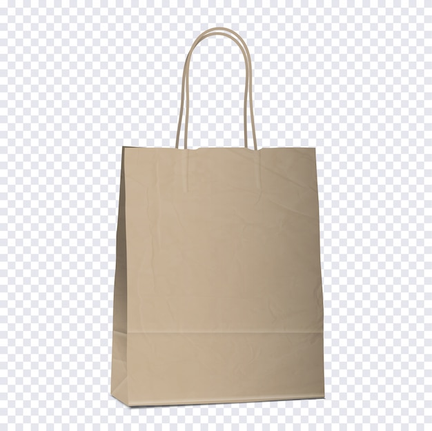 Empty shopping brown bag on transparent background