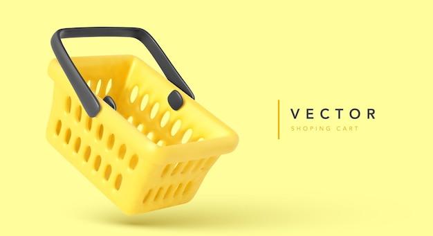 黄色で隔離の空のショッピングカート