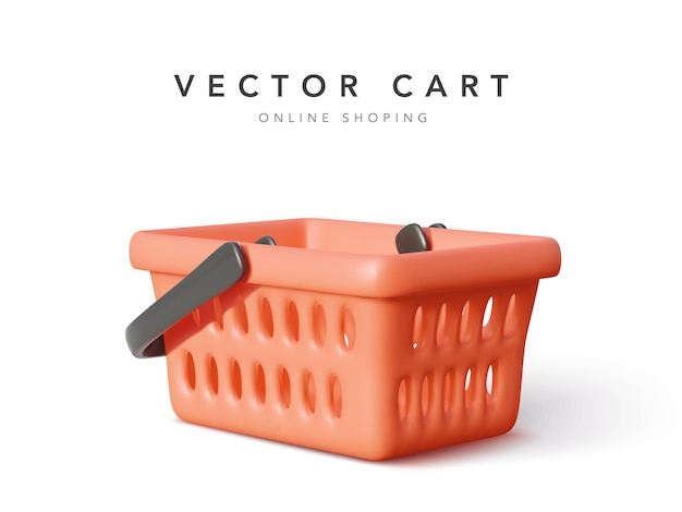 Empty shopping cart isolated on white background.  illustration