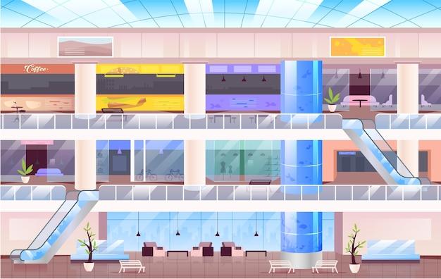 Пустой торговый центр плоские цветные рисунки. городское торговое пространство 2d мультяшный интерьер с несколькими этажами на заднем плане. многоэтажный холл с разными магазинами, фуд-кортом и лаунж-зоной