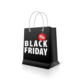 Empty shopping paper bag, black color for black friday