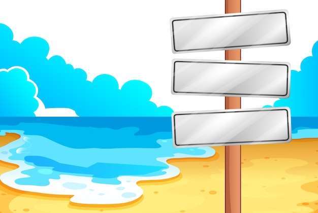 Empty signboards at the beach
