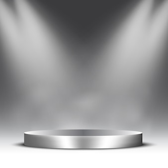 Empty silver podium with spotlights and steam. pedestal.