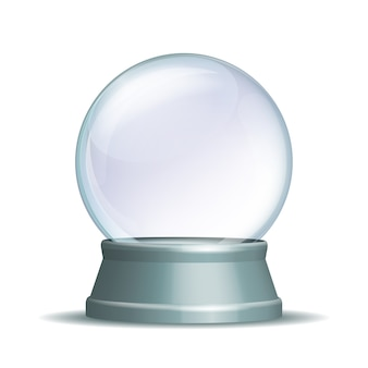 Empty snow globe. magic glass sphere on light grey pedestal  on white.  illustration eps 10