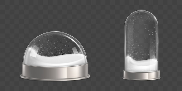 Empty snowballs with snowflakes realistic vector