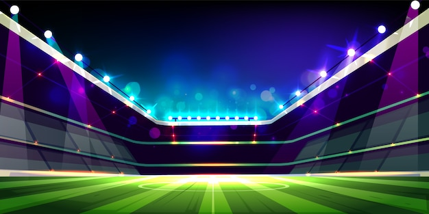 Empty soccer field illuminated with projectors lights cartoon