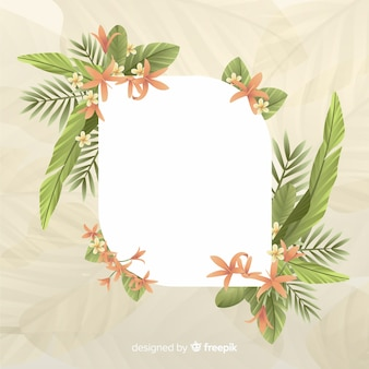 Empty space with cute frame with leaves