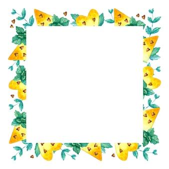黄色いスイカと空の正方形のフレーム