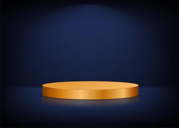 Empty stage background. golden round podium for presentation.