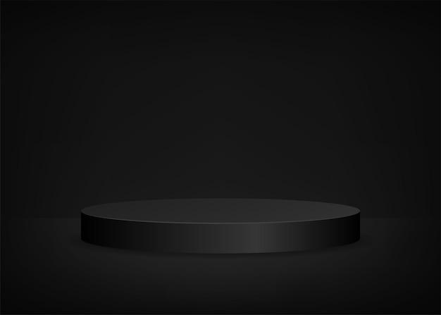 プレゼンテーションのための空のステージの黒い背景の丸い表彰台。ベクトルイラスト。