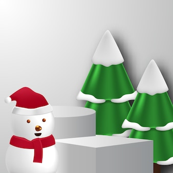 雪だるま、松の木、白い背景色でクリスマスや冬の空のステージキューブシリンダー台座表彰台製品の表示
