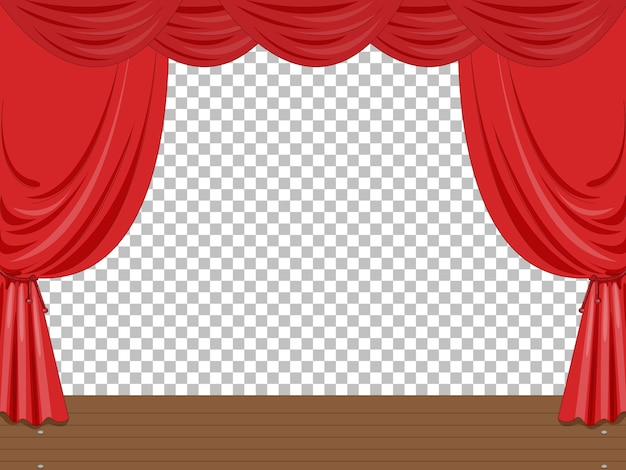 Empty stage illustration with red curtains transparent