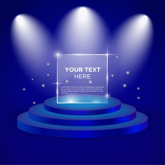 Empty stage vector design template with blue color
