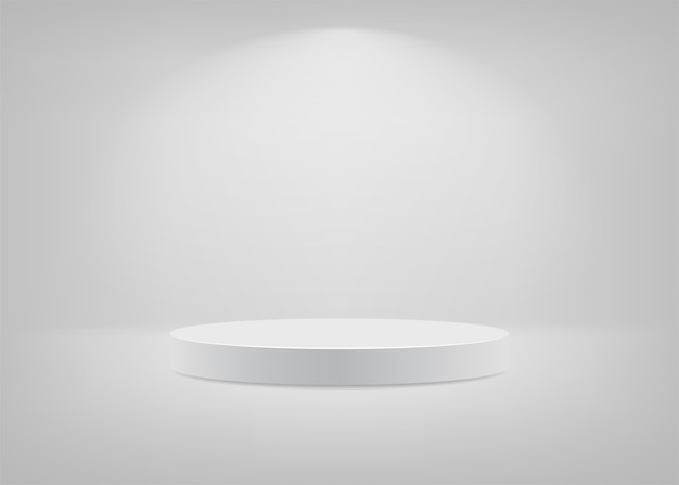 Empty stage. white background for presentation.