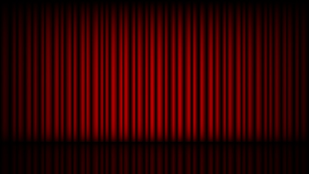 Empty stage with closed red theater curtain