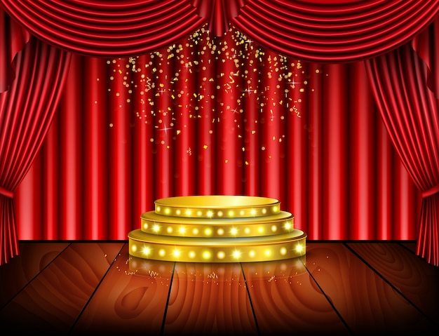 Empty stage with red curtain background