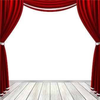 白で隔離の赤いカーテンと空のステージ