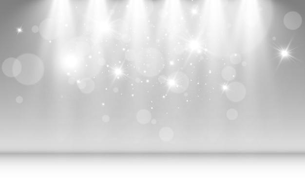 Пустая сцена с прожекторами осветительные приборы на прозрачном