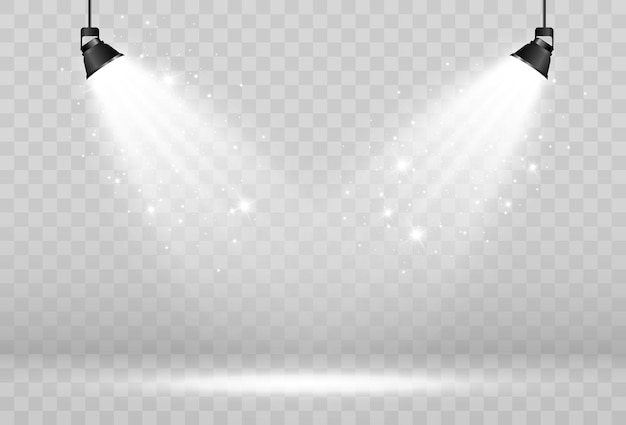 Empty stage with spotlights lighting devices on a transparent background