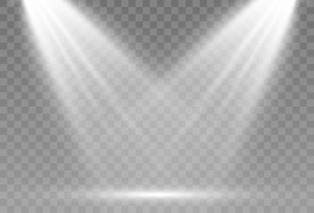 スポットライトのある空のステージ照明器具