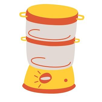 빈 증기선 아이콘입니다. 주방 전기 증기 조리 기구, 빠른 건강식 요리를 위한 장비. 주방 가전 컬렉션의 간단한 요소입니다. 만화 벡터 일러스트 레이 션