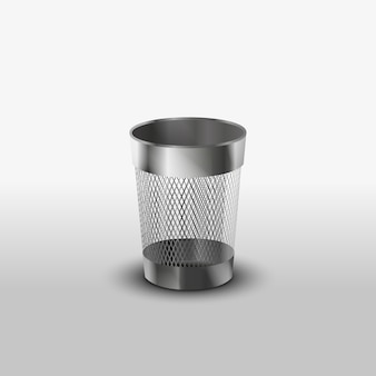 Empty steel trash can realistic vector icon