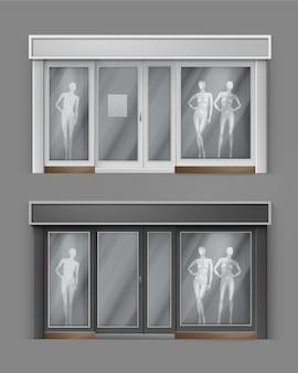 Пустая витрина с большими окнами с манекенами