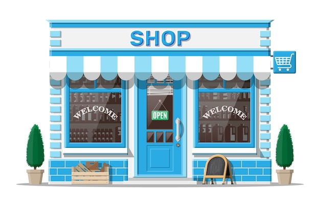 창과 문이 있는 빈 상점 앞. 나무와 벽돌 외관입니다. 부티크의 유리 쇼케이스. 작은 유럽 스타일의 가게 외관. 상업, 부동산, 시장 또는 슈퍼마켓. 평면 벡터 일러스트 레이 션