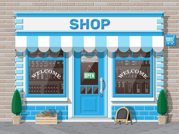 Empty store front with window and door. wooden and brick facade. glass showcase of boutique. small european style shop exterior. commercial, property, market or supermarket. flat vector illustration