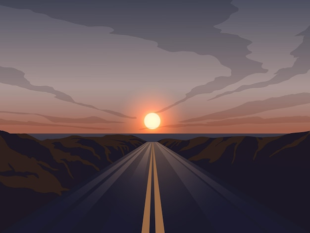 Empty straight road at sunset