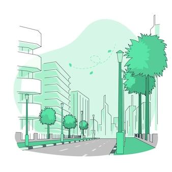 Empty streetconcept illustration