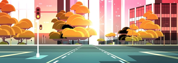 Empty street road with crossroad and traffic lights city buildings skyline modern architecture sunset cityscape