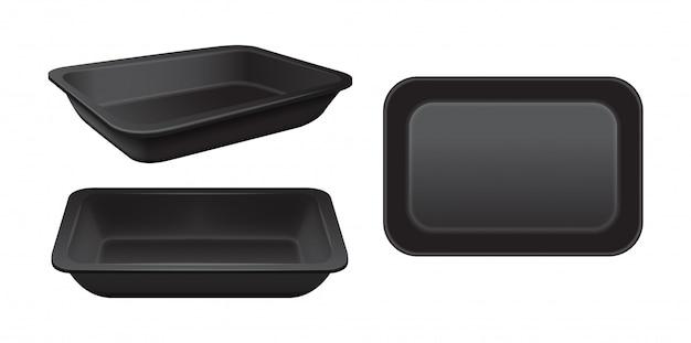 빈 스티로폼 식품 보관소. 검은 음식 플라스틱 트레이, 거품 식사 용기 세트