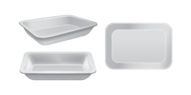 Empty styrofoam food storage. white food plastic tray, set of foam meal containers