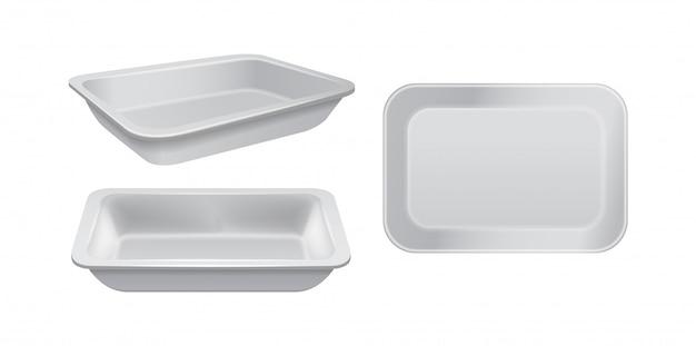 빈 스티로폼 식품 보관소. 백색 음식 플라스틱 쟁반, 거품 식사 용기 세트
