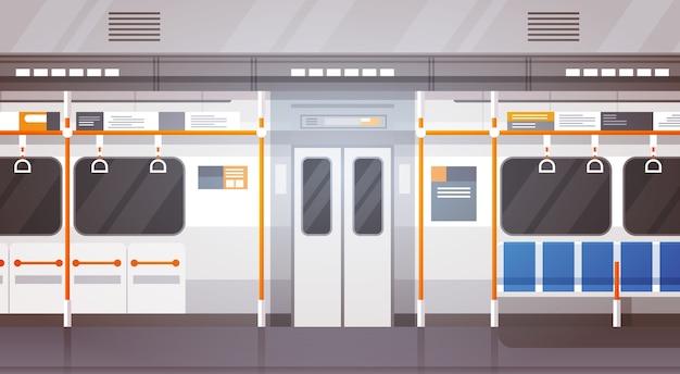 Пустой подземный интерьер автомобиля современный город общественный транспорт
