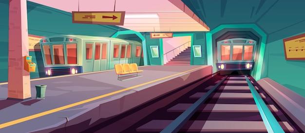 Piattaforma della metropolitana vuota con treni in arrivo