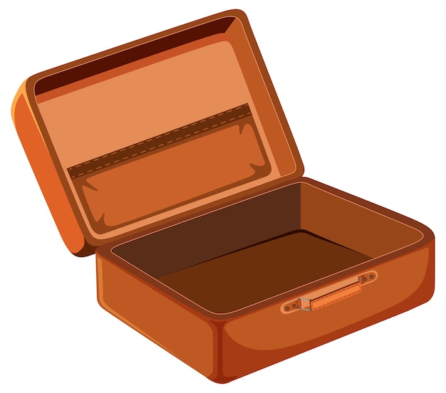 Пустой чемодан на белом фоне